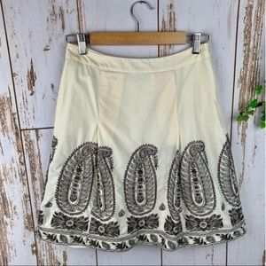Ann Taylor Embroidered Brown Ivory Lined Skirt